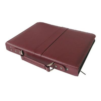Alvin PCL1417-BU Prestige Premier Burgundy Series Leather Presentation Case 14'' x 17'', Constructed of genuine leather with a rugged nylon coil zipper, Ergonomic leather handle is spine mounted and folds flat for seamless presentations by Prestige