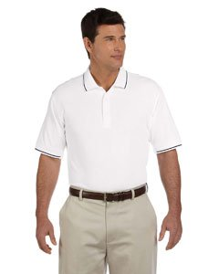 Devon & Jones Blue Men's Pima Pique Short-Sleeve Tipped Polo Shirt, White/Nav. - White Tipped Pique Sport Shirt