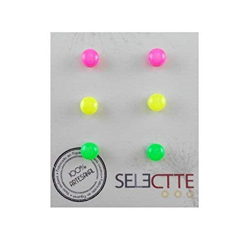Pack pendientes pequeños antialergicos, rosa fluor, amarillo fluor ...
