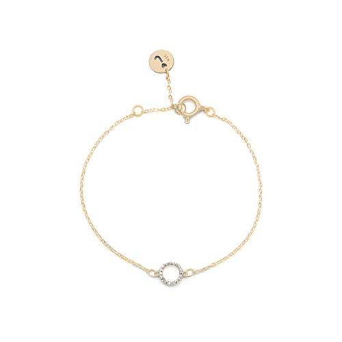 Jeanne's Jewels Womens 925 Sterling Silver Sofia Circle Charm Bracelet, Adjustable Size, Cubic Zirconia, Stackable, 8mm (Yellow Gold)