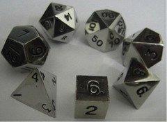 Metallic Dice Games Metal Dice Polyhedral Set Of 7 Die (7) Silver by Metallic Dice Games by Metallic Dice Games