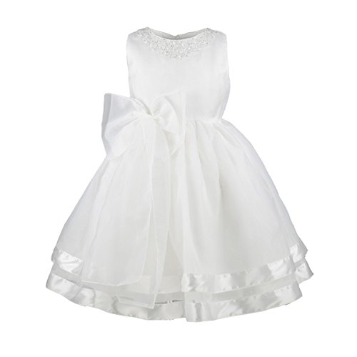 Designs Satin Flower Girl Dress - Flower Girls Dress Satin Organza Wedding Party Ball Gown Bowknot Tulle Dresses  White  6