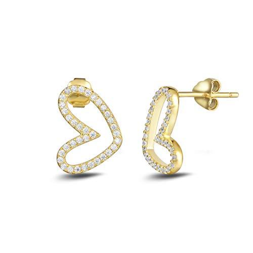 Studded Large Heart Earrings (Carleen Yellow Gold Plated 925 Sterling Silver CZ Cubic Zirconia Open Heart Stud Earrings For Women Girls)