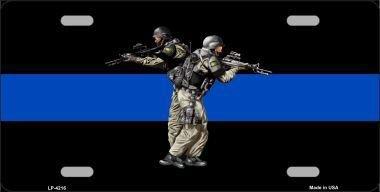 BIN SHANG Thin Blue Line Police SWAT Metal Novelty License Plate LP-4216