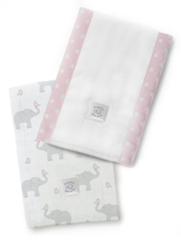 SwaddleDesigns Baby Burpies, Set of 2 Cotton Burp Cloths, Elephant and Pastel Pink Chickies