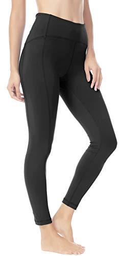 QUEENIEKE Women 25 Inches Yoga Leggings Sports Power Flex Mid-Waist Gym Running Tights L Color Black