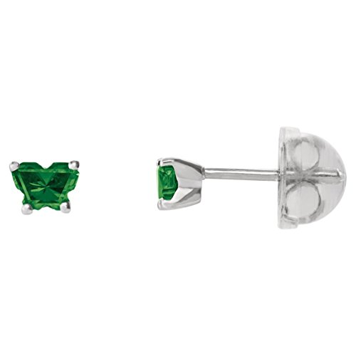 Little Girl's 10k White Gold May Green CZ Imitation Birthstone Butterfly Earrings, Safety Back by The Men's Jewelry Store (for KIDS)