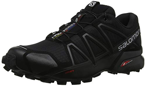Salomon Men's Speedcross 4 Trail Runner, Black/Black/Black Metallic, 10.5 D US L38313000