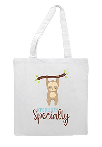 White Statement Specialty Two My Is Bag Sloth Tote Being Shopper Cute Lazy q7BaTPw