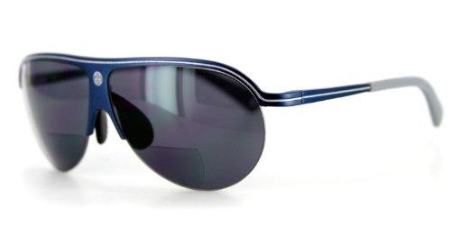 Bahamaz Bifocal Aviator Sunglasses - Optical Lenses & Prescription-ready Aluminum Frames (Blue w/ Smoke - Sunglasses Bifocal Online Prescription