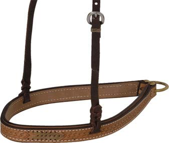Teskey's Basket Tooled Noseband (Light Oil) - Tooled Light Oil Saddle