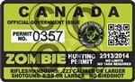 "Zombie Hunting Permit CANADA Decal 4"" x 2.4"" Outbreak Sticker"
