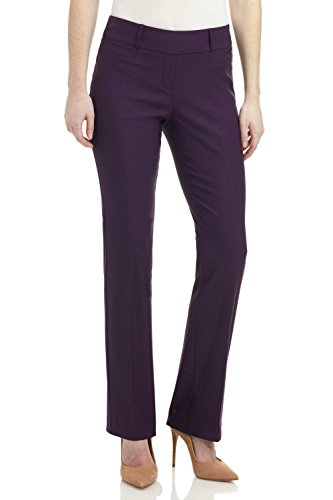 - Rekucci Women's Ease in to Comfort Fit Barely Bootcut Stretch Pants (6,Deep Plum)