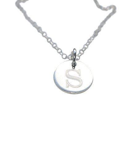 (Personalized Necklace - Sterling Silver Disc Charm - Engraved Necklace - Initial Disc - Gift for mom)