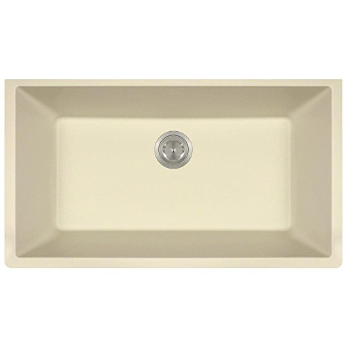 848 Large Single Bowl Quartz Kitchen Sink, Beige, No Additional Accessories