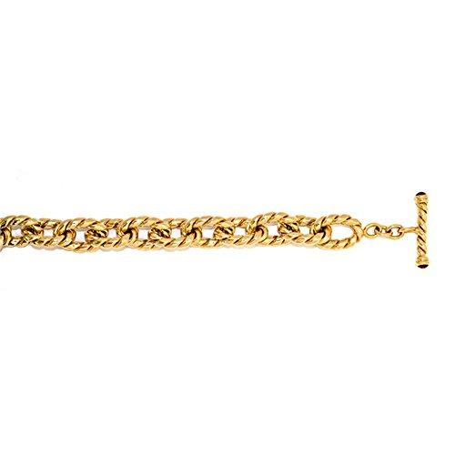 (14k Yellow Gold 15.5mm Twist Link Oval Link Chain Bracelet - 8.5