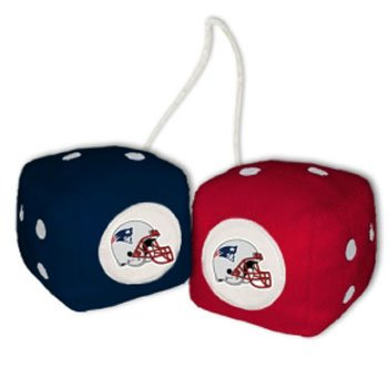 NFL New England Patriots Fuzzy Dice,one red, one blue w/ logo,3""