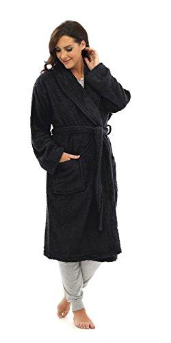 long black fleece dressing gown - 8
