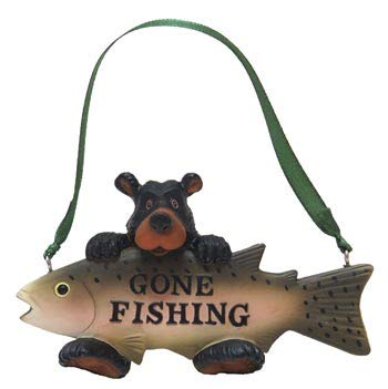 Rustic Axentz Gone Fishing Bear Fish Figure Collectible Ornament, 4.5