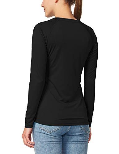 620931cb ... Baleaf Women's UPF 50+ Sun Protection T-Shirt Long Sleeve Outdoor  Performance Black Size ...