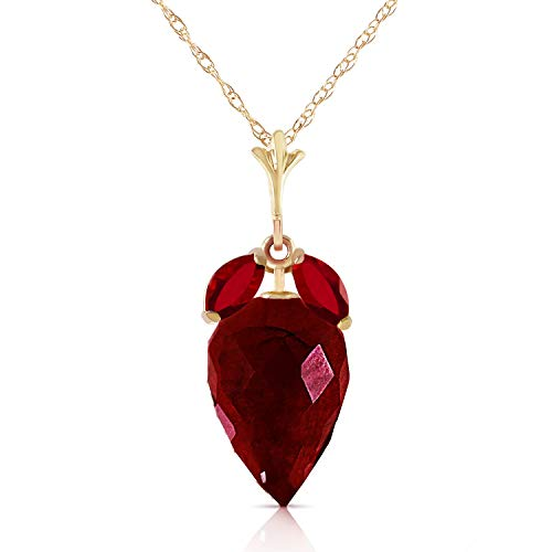 14K Solid White Yellow Rose Gold Necklace with Marquise & Briolette Drop Natural Ruby (yellow-gold, 18)