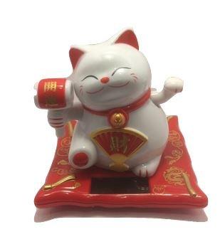 Solar Powered Maneki Neko Welcoming Lucky Beckoning Hands Waving Fortune (White Lucky Cat)
