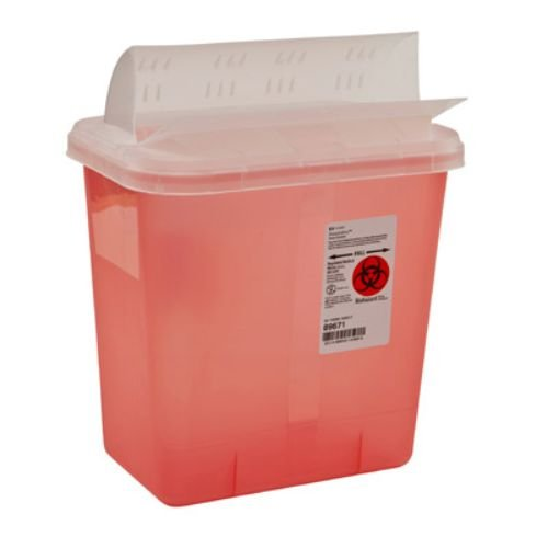 Covidien 89671 Multi-Purpose Sharps Containers with Horizontal-Drop Opening Lid, 2 gal Capacity, 12.75'' Height x 7.25'' Depth x 10.5'' Width, Transparent Red (Pack of 20)
