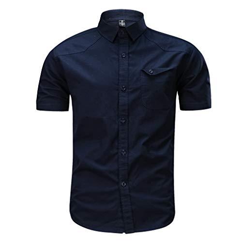 Sunhusing Men's Casual Stylish Military Pure Color Cotton Blend Short Sleeve Loose T-Shirt Tops Dark Blue (Uniform Baseball Sleeveless)