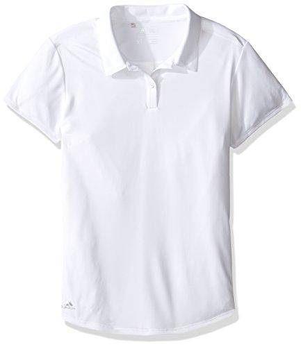adidas Golf Girls Performance Solid Polo Shirt, White, Medium