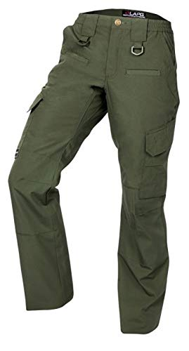 (LA Police Gear Women's Operator Pant with 8 Pockets and Elastic Waist (OD Green, 4-Short))