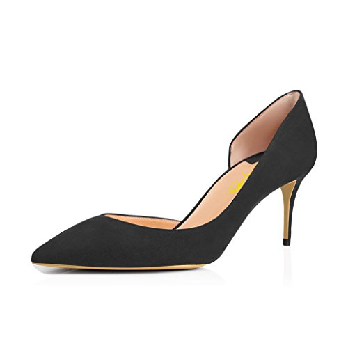 XYD Sexy Mid Heel D'Orsay Shoes Pointed Toe Slip on Patent Suede Kitten Pumps for Women Size 8 Black-Suede