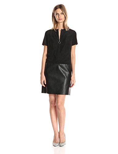 Julia Jordan Women's Short Sleeve Zip Front Faux Leather/Suede Shift Dress, Black, 8 by Julia Jordan
