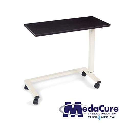 Medical Height Adjustable Overbed Table - Flame Resistant and Anti-Spill Rim - Heavy Duty Steel Frame and Swivel Locking Casters for Home, Hospital,Laptop,Reading - 50lb Weight Capacity. (Mahogany)