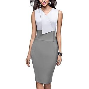 HOMEYEE Women Vintage Contrast Color Lapel V Neck Work Business Dress B529