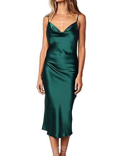 (XXXITICAT Women's Sleeveless Spaghetti Strap Satin Dress Cocktail Beach Evening Party Cowl Neck Dot Leopard Midi Dresses(GR,S) Green)