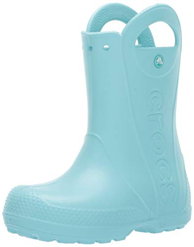 Crocs Kids' Handle It Rain Boots, Easy On for Toddlers, Boys, Girls, Lightweight and Waterproof, Ice Blue, 11 M US Little Kid (Rain Boot Childrens)