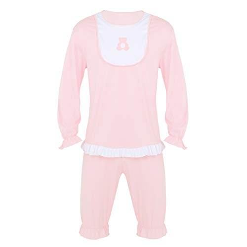 YONGHS Sissy Big Cute Cry Baby Fancy Dress Costume 2 Pieces Sleepwear Pajamas Set for Men Ladies Light_Pink X-Large ()