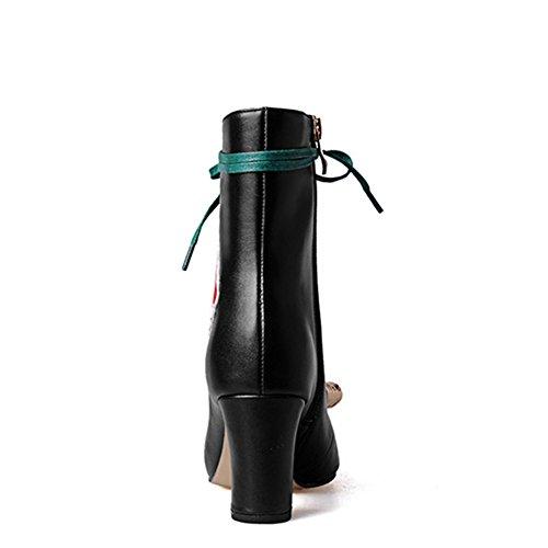 Nueve siete auténtica piel de la mujer ronda Toe talón Chunky Pearl diseño de flores de encaje hecho a mano mitad de la pantorrilla botas negro
