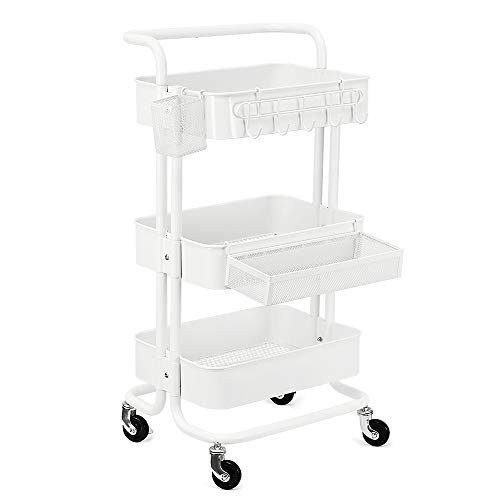 KEDSUM 3-Tier Metal Rolling Utility Cart with 3-Piece Accessory Pack - Hooks, Shelf Extension, Pens Holder, Heavy Duty Mobile Storage Organizer with Utility Handle - White