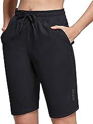 """BALEAF Women's 10"""" Athletic Bermuda Shorts with Elastic Waist Knee Length Exercise Shorts f"""