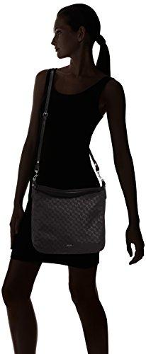 Joop! Nylon Cornflower Dina Hobo LVZ - bolsa de medio lado Mujer Negro (Black)
