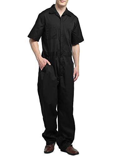 TOPTIE Men's Light Weight Short-Sleeve Work Coverall with Elastic Waist-Black-3XL ()