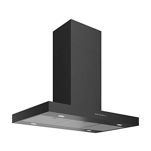 Futuro Futuro Wall Mount Range Hood 36″ | Positano Black | Black Steel Vent Hood | Modern Italian Exhaust Hood |LED, Ultra-Quiet with Blower