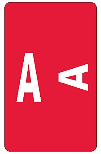 Sheet Labels Style Alpha (Smead AlphaZ ACCS Color-Coded Alphabetic Label, A, Label Sheet, Red, 100 per Pack (67171))