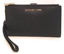 (Michael Kors Jet Set Travel double Zip Wristlet Black)