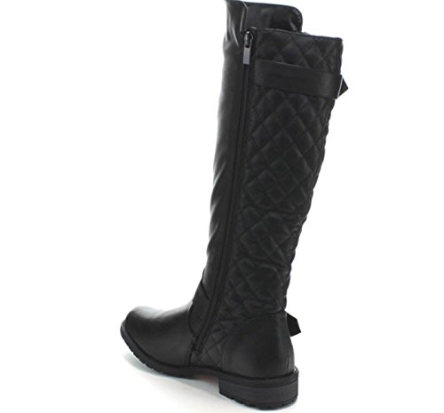 Forever Mango-21 Womens Winkle Back Shaft Side Zip Knee High Flat Riding Boots Black ZXO2lMM