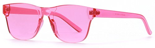 AOOFFIV One Piece Rimless Tinted Sunglasses Transparent Candy Color Glasses