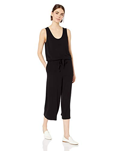 (Amazon Brand - Daily Ritual Women's Supersoft Terry Sleeveless Wide-Leg Jumpsuit, Black,Large)