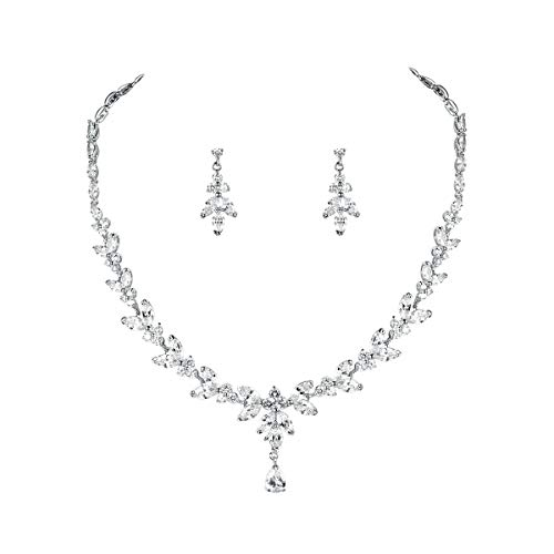 WeimanJewelry Silver/Gold Plated Women Cubic Zirconia Round CZ Marquise Teardrop Bridal Necklace and Drop Earring Set for Bride Wedding (Silver)