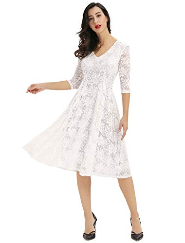 Noctflos Women's Simple V Neck White Lace Fit and Flare Cocktail Bridal Shower Dress